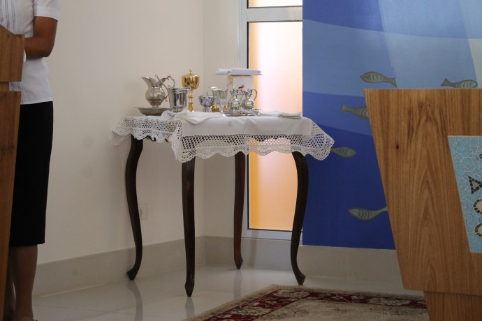 Os vasos sagrados para a primeira missa