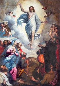 Brescia, Italy - May 22, 2016: Brescia - The painting Ascension of the Lord in church Chiesa di Santa Maria del Carmine by Bernardino Gandino (1587 - 1651).