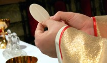 Clergyman hands and communion wafer host