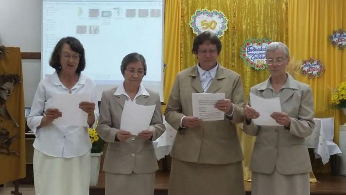 As Jubilandas: Ir. Luciana, Ir. Silvia, Ir. Adelina, Ir. Stella