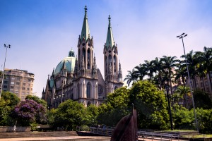 Photo of Se Cathedral, located at Se Square, the central point of São Paulo city.