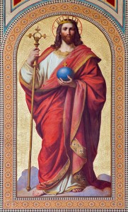 Vienna - Fresco of  Jesus Christ as King of the World by Karl von Blaas from 19. cent. in nave of Altlerchenfelder church on July 27, 2013 Vienna.