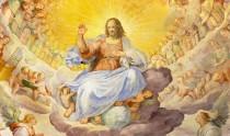 Rome, Italy - March 11, 2016: Rome - The fresco of Christ the Redeemer in Glory with the Heavenly Host by Niccolo Circignani Il Pomarancio (1588) in main apse of church Basilica di Santi Giovanni e Paolo.