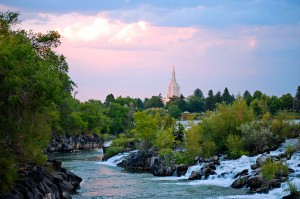 The falls in Idaho Falls, Idaho with the Idaho Falls Temple in the Back ground with the Snake River.