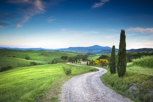 Evening road in Val d'Orcia - Tuscany - Italy