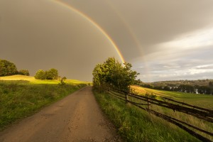 Double rainbow phenomenon in Kashubia ( Kaszuby) district in northern Poland.