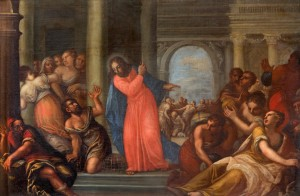 Padua - Paint of Jesus Cleanses the Temple scene in the church Chiesa di San Gaetano and the chapel of the Crucifixion by unknown painter form 17. cent.