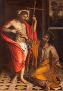 Brescia, Italy - May 22, 2016: Brescia - The painting  The Doubt of St. Thomas in church Chiesa di San Faustino e Giovita by unknown artist of 16. cent.