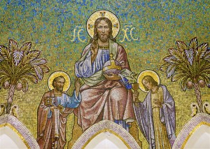 Madrid - Mosaic of Jesus Christ and apostle Peter and John from main apse of  Iglesia de San Manuel y San Benito by architect Fernando Arb?s from 19. cent. in March 9, 2013 in Madrid.