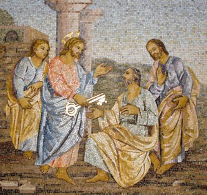Rome - Mosaic from st. Peters cathedral - keys for Peter and power of pope