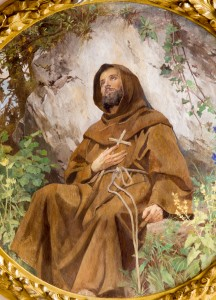 Vienna - Paint of st. Francis from vestibule of Schottenkirche church  on July 3, 2013 in Vienna.