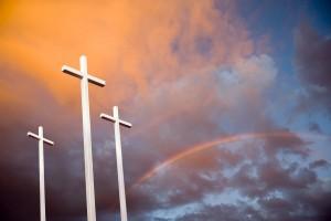 Three Crosses and Dramatic Sky