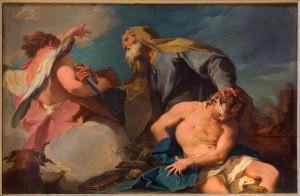 Venice - Sacrificio di Isacco (Abraham and Isaac) by G. B. Pittoni (1713) in church San Francesco della Vigna