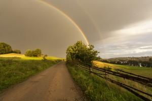Double rainbow phenomenon in Kashubia ( Kaszuby) district in northern Poland.