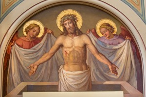 Vienna - Fresco of Resurrected Christ in Carmelites church in Dobling from and of 19. cent. by Josef Kastner.