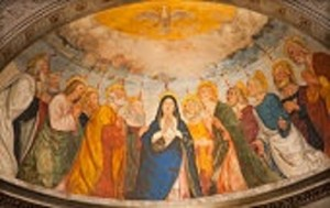 Verona - scene of the Pentecost  in Saint Anastasia church
