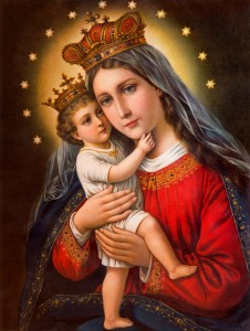 Typical catholic image of Madonna with the child printed in Germany from the end of 19. cent. originally designed by unknown artist and taken in village Sebechleby in middle Slovakia.