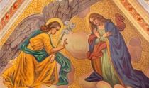 Banska Stiavnica - The Annunciation fresco on the ceiling of parish church from end of 19. cent.  by P. J. Kern.