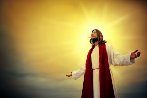 Shot of Jesus standing outside surrounded by light
