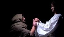 Jesus blessing sick poor man, healing from disease, salvation after prayer